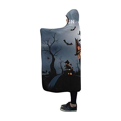 YSJXIM Kapuzendecke Happy Halloween Hintergrund mit Kürbis Haunted H Decke 152,4 x 127 cm