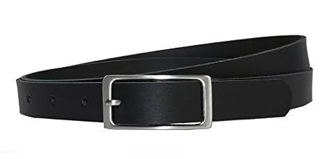 Ledergürtel 100 % echt Leder, 2 cm breit und ca. 0.25 cm stark, Gürtel, Hüftgürtel, Jeansgürtel, Made in Germany (110 cm Gesamtlänge 120 cm, Schwarz)