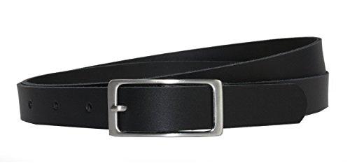 Ledergürtel 100 % echt Leder, 2 cm breit und ca. 0.25 cm stark, Gürtel, Hüftgürtel, Jeansgürtel, Made in Germany (Gesamtlänge ohne Schnalle 90 cm, Schwarz)
