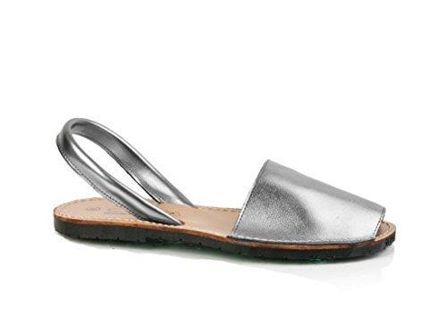 Conbuenpie190 - Avarca-Menorquina donna , (Metal silver), 38 EU