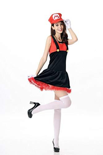 HAPPY WALK Super Mario-Kostüm für Damen, Halloween, Cosplay, Luigi-Kostüm, sexy Klempner-Kostüm Super Mario Bros Fantasia Kostüme für Frauen Gr. One Size, rot