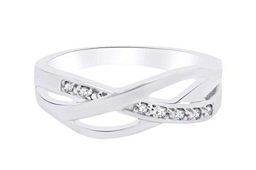 AFFY - Sterling-Silber 925 mit Weißgold vergoldetes Silber Rundschliff Getöntes Weiß/Top Cape (K) Weißer Diamant -