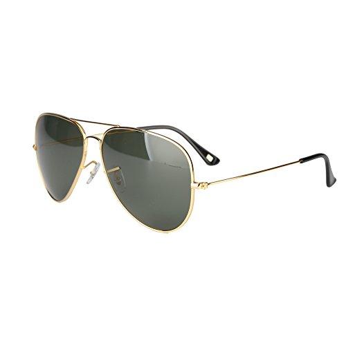 JO M?nner Frau Flieger Titan Rahmen polarisiert Sonnenbrille 62mm JO3025(Gold Rahmen und Gr¨¹n Linse,62mm)