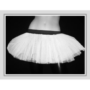 White Neon UV Tutu Petticoat Skirt Punk Cyber Rave Dance Fancy Costumes Party UK Free Shipping