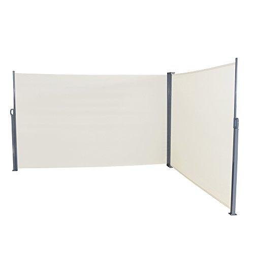 LZQ Doppel Seitenmarkise Sichtschutz Sonnenschutz Windschutz, Markisenstoff aus Polyester für Terrasse Camping seitlicher Windschutz (160x600cm, Beige)