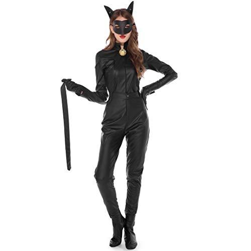 Halloween Kostüm Damen Sexy Katzenfrau Cosplay Verkleiden Jumpsuits Ohren Maske Gürtel Glocke Handschuhe Schuhwerk Armband Knöchel Ring Mottoparty Party Karneval (XL, Schwarz) (Dark Clown Kostüm)