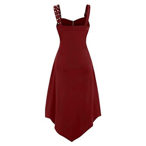 Ashui Robe AsyméTrique sans Manches à Mini Camisole Style Gothique Taille Solide pour Femmes,Robe Médiévale Femme Renaissance Costume Robes Longues
