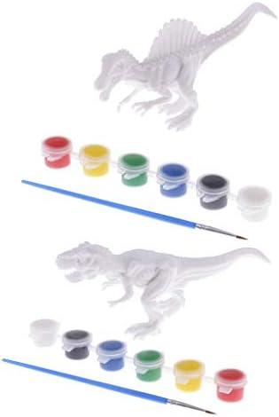 Baoblaze   3D DIY Graffiti Peinture Dinosaure Modèle Figure Jouet Pack de 2 | Sale Online