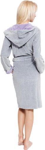 Merry Style Femme Velours Peignoir de Bain avec Capuche Kinga Gris/Violet Foncé