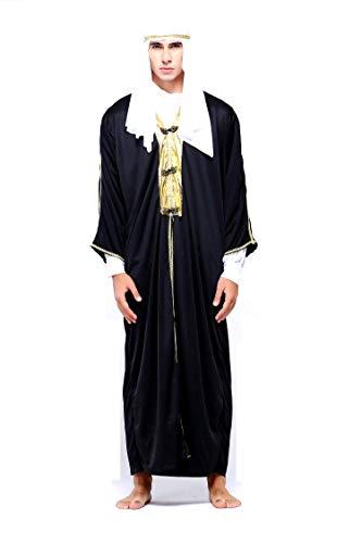 Lovelegis Einheitsgröße - Arabisches muslimisches Scheich-Kostüm für Erwachsene Männer - Ausgezeichnete Qualität - Junge - Halloween-Kostüm zum Karneval - Schwarz (Halloween-thema Ideen 2019)