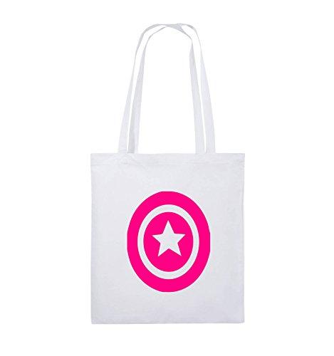 Comedy Bags - CAPTAIN AMERICA - Jutebeutel - lange Henkel - 38x42cm - Farbe: Schwarz / Silber Weiss / Pink