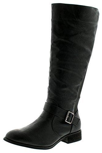 New Ladies/Womens Black Knee High Riding Style Fashion Boots - Black -...