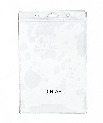 50 x Ausweishülle DIN A6 (105 x 148 mm), vertikal tragbar - twist4® - Schnell & in TOP Qualität - definitiv für DIN A6 geeignet