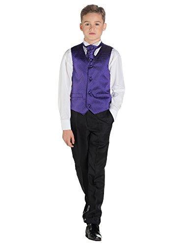 London Kostüm Ltd - Paisley of London, Kostüm Weste Jungen, Seite Jungen folgt, Motiv Diamant, Hose schwarz, 3-6m-14Jahre Gr. für Kinder von 11-12 Jahren, violett