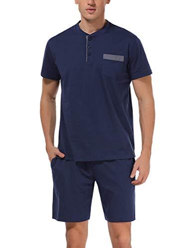 Hawiton Herren Schlafanzug kurz Sommer kurzarm Baumwolle Nachtwäsche aus weicher Baumwolle Herren Pyjamas für Herren Nachtwäsche Loungewear Dunkelblau XL