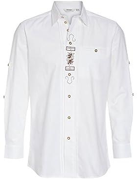 Distler Weißes Trachtenhemd Erwin, Bestickt - Herren Langarmhemd Bestickt Herrenhemd geknöpft mit Biesen und Stickereien...