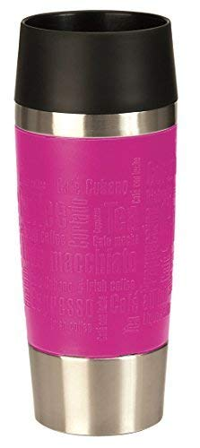 Emsa 515513 Isolierbecher, Mobil genießen, 360 ml, Quick Press Verschluss, Pink City, Travel Mug