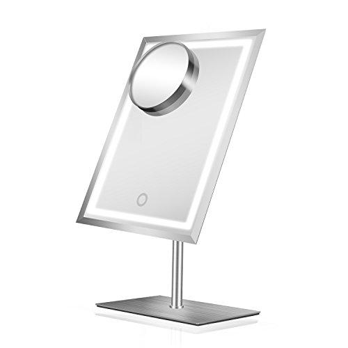 LED Makeup-Spiegel aus Metall und Glas mit 80 Mini-LED-Lichtern Extra-Hell, Stabile Standfläche,...