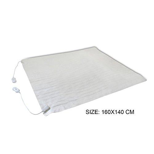Todeco - Surmatelas Chauffant, Chauffe Lit - Standards/Certifications: CB - Longueur du Cable d'alimentation: 2 m - Double, 160 x 140 cm, 2x60W, Blanc, Commande Manuelle, Polyester