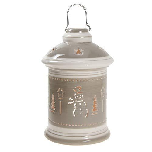STEFANAZZI 1 Pezzo Porta Candela Lanterna Ceramica Dipinta Decorazione di Natale Regalo Natalizio Decorazioni per la casa per Tavolo sopraobili