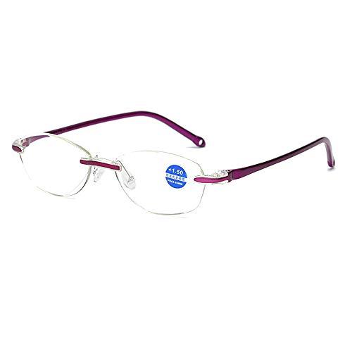 Blaues Frauen Blaulicht Block Lesebrille Randlose Presbyopie Weitsichtigkeit Rahmenlose Brillen
