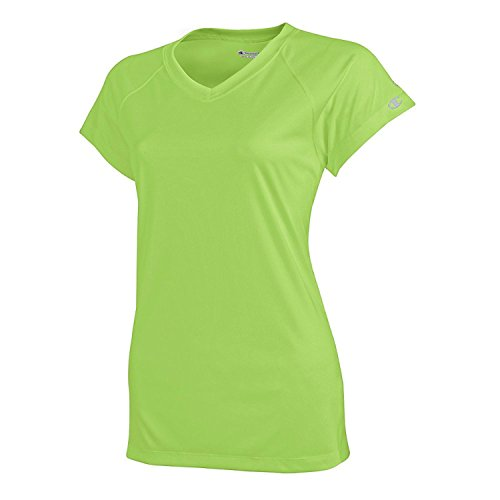 Green Frauen Lime Shirt Für Dress (Champion Women's Essential Double Dry V-Neck Tee_Neon Lime Green_X-Small)
