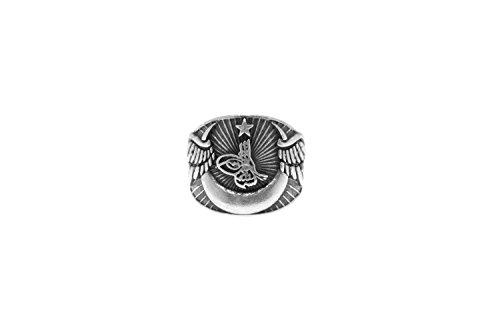 Gök-Türk Ring für Herren 'Halbmond mit Stern' Osmanische Tugra Sultans Stempel Ay Yildiz - verstellbare Größe -
