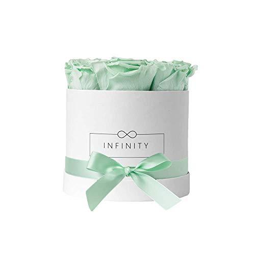 Infinity Flowerbox Medium (Weiß) - 9 echte Premiumrosen in Cool Mint
