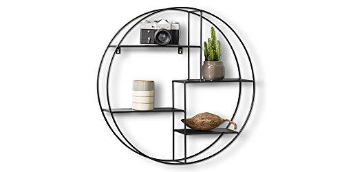 LIFA LIVING Rundes Wandregal aus Metall mit 4 Böden | Schwarzes Vintage Küchenregal mit 4 Etagen | Gewürzboard Gewürzständer | Ø 55 cm x 11 cm
