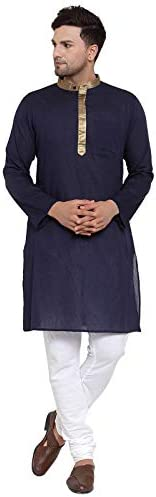 NEUDIS by Dhrohar Cotton Long Kurta & Churidar Pajama Set For Men - Navy