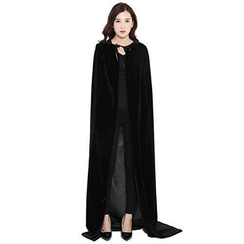 Sensenmann Kostüm Kapuze - Halloween Umhang Cape mit Kapuze Karneval Fasching Kostüm Unisex Schwarz WO 2097 BL S