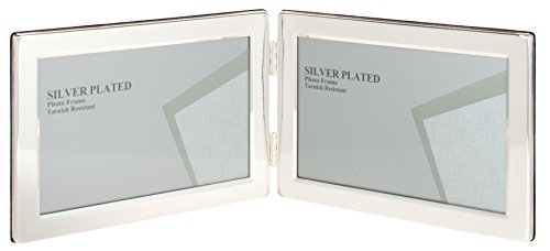Edge 8x10 Foto (Maturi UNPF5-57 Doppel-Bilderrahmen Flat Edge Landscape, versilbert mit Anlaufschutz, 13 x 18 cm)