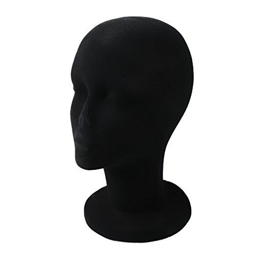 Mannequin Modèle à Tête Homme en Foam Modèle de Perruques Chapeaux Lunettes Affichage - Noir, Taille unique