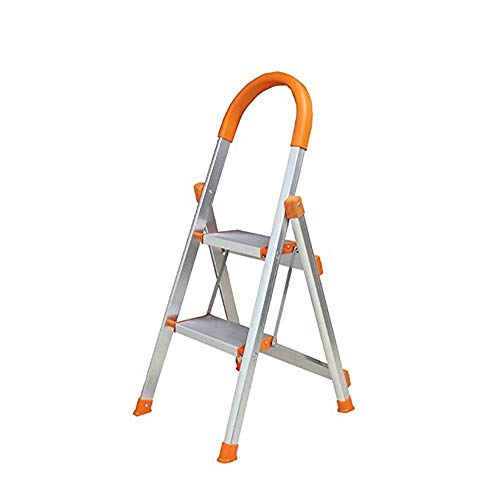 HEMFV Faltbare Trittleiter, 2 Layer Leitern tragbarer Haushalt Premium-Aluminiumlegierung-Leiter verdicken Beinstütze leicht Lagerung