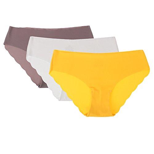 Damen Unterhose Panties von COLLEER, ultra Soft Bequem Nahtlos Alltags Hüftslip Panty Slips aus Baumwolle 3 Pack (L, Weiß/Lila/Gelb)