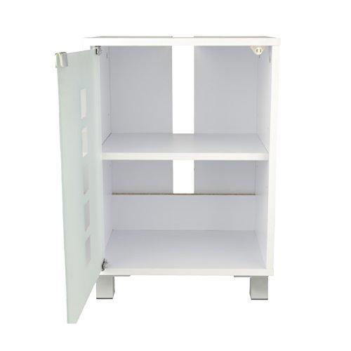 Waschbeckenunterschrank schlicht in weiß mit Glastür - 3