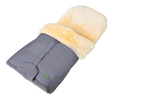 Fellhof Lammfell-Fußsack Cortina, OEKO-TEX® Standard 100 zertifiziert, 45x97 cm, wind- und wasserdicht, waschbar bis 30°C, Öffnung am Fußende (anthrazit)