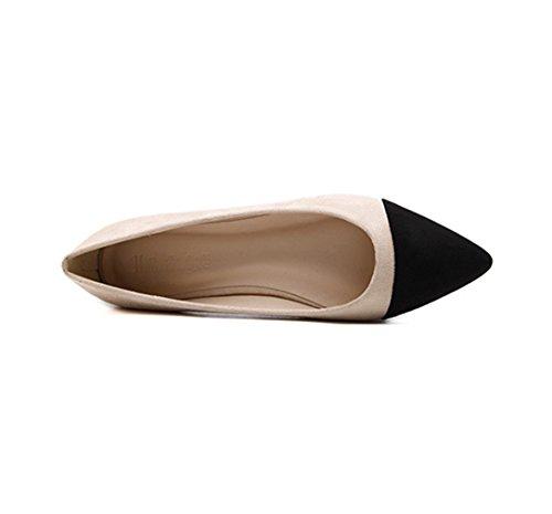 Damen Slipper Spitz Zehen Mosaik-Farben Nubukleder Einfach OL Weich Slip on Bequem Atmungsaktiv Elegant Büro Freizeit Schuhe Aprikose