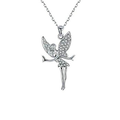 Anyeda collana placcato oro ciondolo collana donna cristallo angelo argento cubic zirconia 2.7x5.1cm