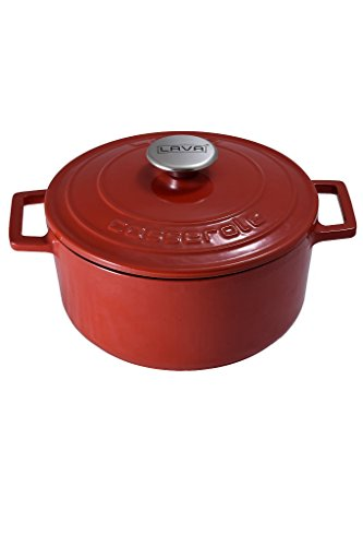 LAVA Cookware Topf Bräter Gusseisen - Emaille & induktionsfähig - Bräter, rund, 22 cm, Farbe: rot 4,5 kg schwer (Lava Stoff)