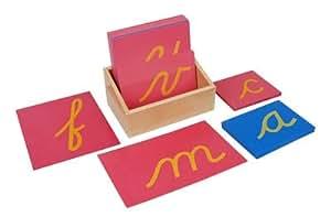 Montessori Lower Case Cursive Sandpaper Letters W/ Box