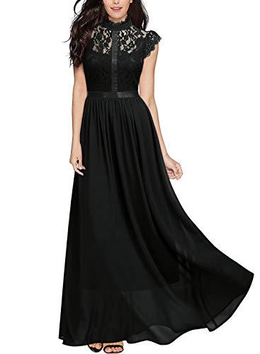 Miusol Vintage Gasa Encaje Fiesta Vestido Largo para Mujer Negro Large