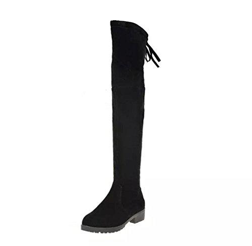 Amcool Mode Damen Lange Stiefel Winter Herbst Mode Stiefel Mittlerer Absatz Boden Knie hoch Stiefel (Asiatische Größe 39/EU38, Schwarz) (Hoch Leder Knie)