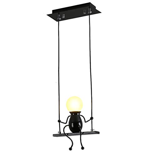 Pendelleuchte Schwarz LED Kreativ Kronleuchter Modern Design Karikaturen Charakter Deckenbeleuchtung Esszimmer Schlafzimmer Wohnzimmer Kinderzimmer Deko Einstellbar Hängeleuchte Eisen E27 (Schwarz)