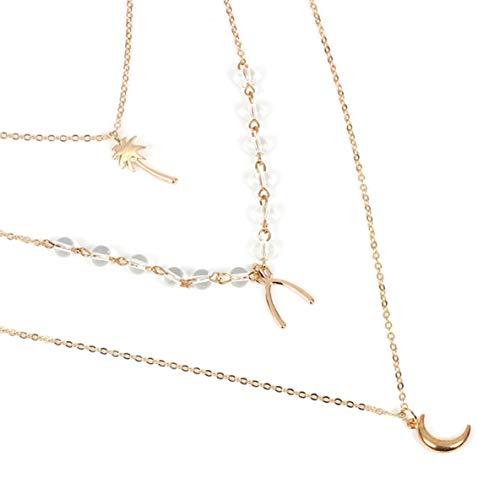 Hengxinhui Einfache böhmische Multilayer Halskette Kleine Punkte Delicate Moon Star Cross Shell Gold Halsketten Elegante und Freizeitgestaltung für Frauen(None golden)