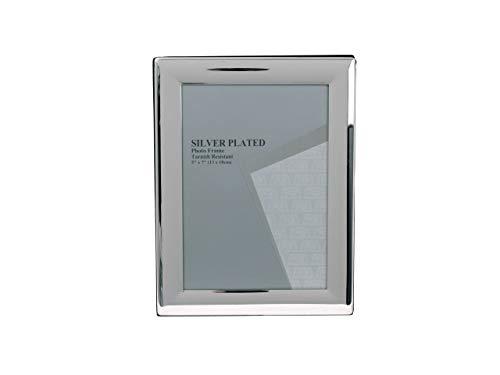 Evergreen - cornice portafoto placcata in argento antiossidante, 13 x 18 cm, colore: argento
