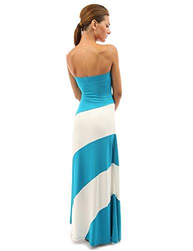 PattyBoutik femmes robe longue de tube rayé turquoise et blanc ivoire