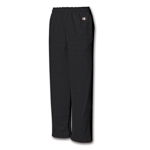 Champion Youth Double Dry Action Fleece Open Bottom Pant, Black, M - Fleece Open Bottom Pant