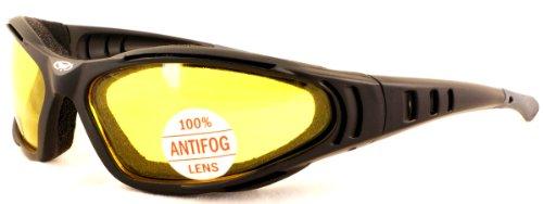 Global Vision Motorrad Rundum gelb getönte Gläser mit Schaumstoffpolsterung und bruchsicher Antifog-Objektive mit kostenlosem Mikrofaser-Tasche für.