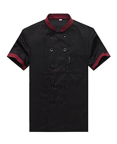 Chef Jackets Waiter Coat Short Sleeves Underarm Mesh Black